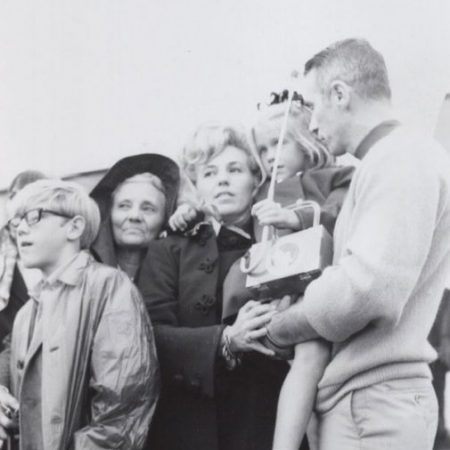 Waiting for blast-off! Floy-Mae Ragsdale (Sue's mother), Clay Bean, Sue Bean, Amy Bean and Gene Cernan